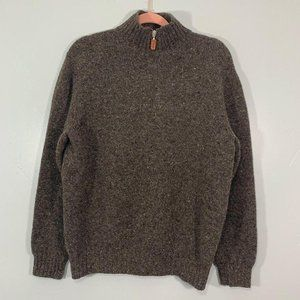 Bergdorf Goodman Soft Brown Speckle Knit Pullover